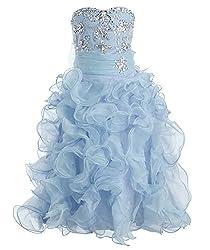 Fashion Plaza Girl's Organza Rhinestone Special Occasion Ball Gown Dress K0053 (10, Blush Pink)
