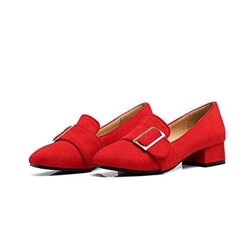 BalaMasa Ladies Square Heels Metal Buckles Square-Toe Fabric Pumps-Shoes Red pZb5Xzk
