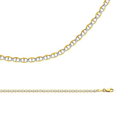 White Pave Flat Mariner Chain (Solid 14k Yellow White Gold Chain Mariner Necklace Anchor Pave Flat Link Two Tone 3.4 mm 18 inch)