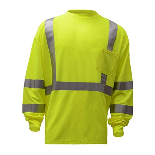 Brite Safety Class 3 Standard Moisture Wicking T-Shirt with Chest Pocket - Safety Shirts for Men - High Visibility (Tall 3XL, Yellow)