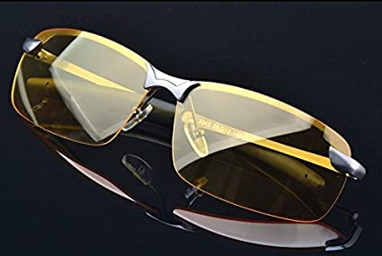 46145f56eb0 Image Unavailable. Image not available for. Color  HD Night Vision Glasses  Driving Aviator Sunglasses New UV400 Eyewear best for Men ...