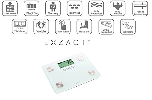 Amazon.com: Exzact Ex602 Portable Body Analyser/ Mini Electronic Weighing Scale/ Digital Bathroom Scale - Body Fat / Hydration / Muscle - 12 User Memory ...
