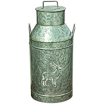 The Farmer's Market Creamery Milk Can, Galvanized Metal, Detachable Lid with Handle, Deer Decoration, Bevel Details, 8 1/4 Diameter, 19 1/4 Inches Tall, By Whole House Worlds