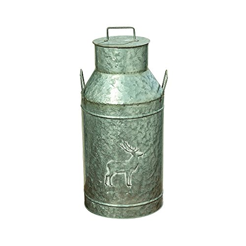 Tall Jug (The Farmer's Market Creamery Milk Can, Galvanized Metal, Detachable Lid with Handle, Deer Decoration, Bevel Details, 8 1/4 Diameter, 19 1/4 Inches Tall, By Whole House Worlds)