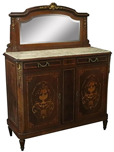 EuroLux Home Server Sideboard Louis XVI French 1920 Gray White Marble Marquetry Mahogany ()