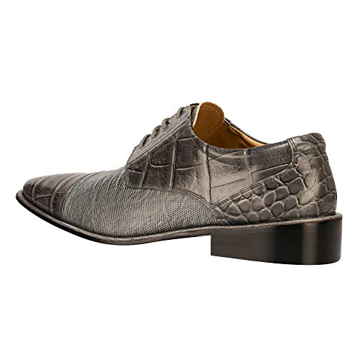 63d5a7240 Liberty Exotic Men s Crocodile Lizard Print Oxford Hand-Picked PU Leather  Stitched Lace up