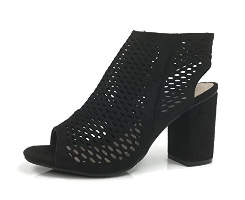 Bella Marie Open Toe Mule Sandal With Perforated Cut Outs Ankle Wrap Bootie Stacked Chunky Heel Black fkKhKW0