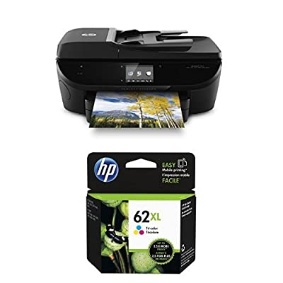 HP Envy 7640 Wireless All-in-One Photo Printer with Mobile Printing, Instant Ink ready (E4W43A) and HP 62XL Tri-color High Yield Original Ink Cartridge (C2P07AN) Bundle