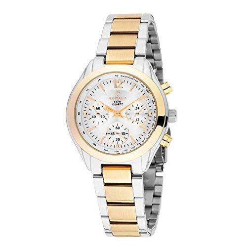 Reloj Mujer marca Nowley, en acero bicolor, tapa rosca números dorados, 5 ATM: Amazon.es: Relojes