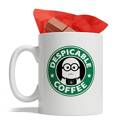 Bijouland - Minions Coffee - Despicable Coffee - Ceramic Coffee Mug, Cute and Funny Cup, White - 11 Oz, Made in ()