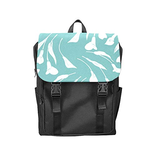 (Fashion Flip Cover Notebook Calla White Floral Hand Drawn Romatic Print Laptop Backpack Travel Men Women Business Computer Backpack Oxford Fabric Vintage School Shoulder Bag)