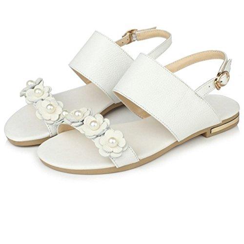 COOLCEPT Damen Mode-Event Knochelriemchen Sandalen Open Toe Flach Slingback  Schuhe Mit Blume White ...