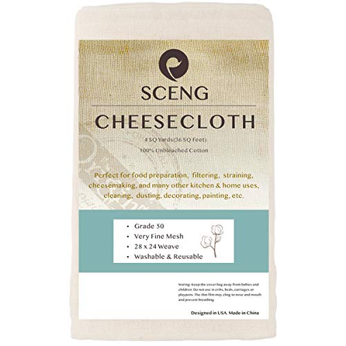 Cheesecloth, Grade 50, 36 Sq Feet, Reusable, 100% Unbleached Cotton Fabric, Ultra Fine Cheesecloth for Cooking-Nut Milk Bag, Strainer Filter ()