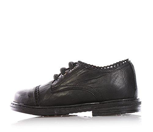 TWIN-SET - Chaussure noire à lacets, en cuir, logo latéral en métal, filles,enfant
