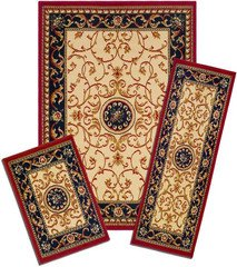 Capri Collection 3-Piece Area Rug Set: Area Rug with Matching Runner and Mat- Wrought Iron (5 Piece Natural Wrought Iron)