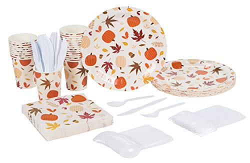 Disposable Dinnerware Set - Serves 24 - Thanksgiving Party Supplies Fall Themed Celebrations, Autumn Leaves Design, Includes Plastic Knives, Spoons, Forks, Paper Plates, Napkins, Cups
