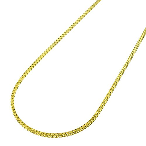 (14k Yellow Gold 1mm Solid Franco Square Box Link Necklace Chain 16