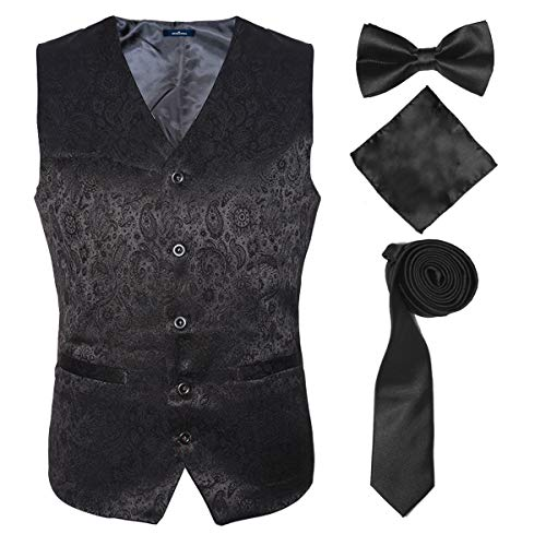 (Black Suit Vests Set for Teenagers with Dress Necktie Handkerchief Bow Tie,Black,M)