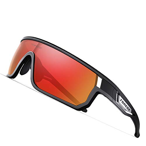 TOREGE Polarized Sports Sunglasses for Man Women Cycling Running Fishing Golf TR90 Fashion Frame TR16 Warrier (Black&Black&Red Lens) (Best Sunglass Lens Color For Golf)