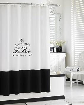 Rideau de douche kassatex le bain Collection Noir Blanc Français ...
