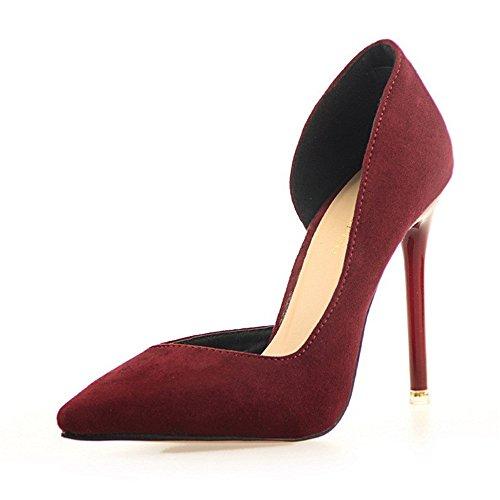 Manyis Moda Mujer Señora Nuevos Zapatos De Tacón De Aguja Puntiagudos Zapatos De Tacón Bajo Zapatos De Color Rojo Vino, Tamaño: Us4