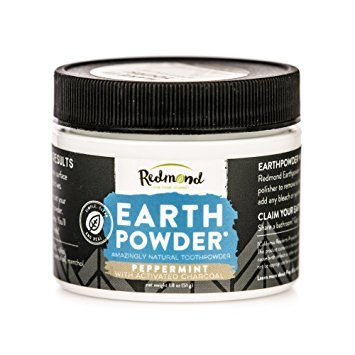 Redmond Earthpowder, All Natural Tooth and Gum Powder Bentonite Clay and Charcoal Teeth Whitener, Peppermint Charcoal