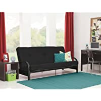 Mainstays Futon with 6 Mattress, Black Metal Arm, Black New and improved: mattress retainer clip covers now included