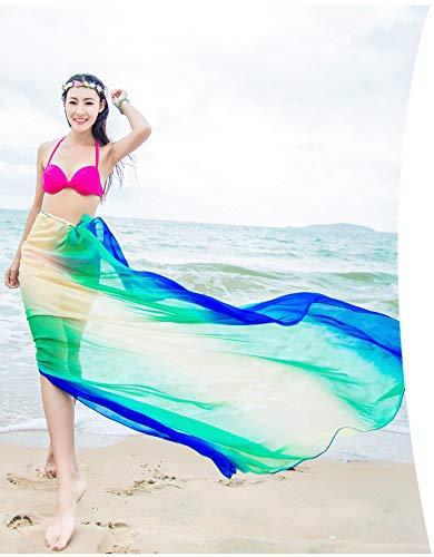 ragazze Donna Pareo Wrap Costumi SiLK UV Sarong amp; Spiaggia da Sciarpe Extra Copricostumi e Protezione Blu Stole Verde amp; Grande bagno solare Bambine Scialli Felix t7XqHv7