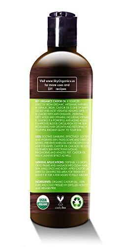 Organic Castor Oil By Sky Organics 16oz Cold Pressed 100 Pure Hexane Free Castor Oil Moisturizing Healing For Dry Skin Hair Growth For Skin Hair Care Eyelashes Caster Oil
