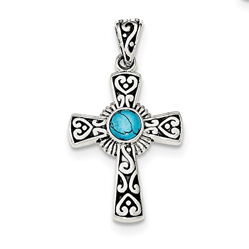 Turquoise Low Cut (Solid 925 Sterling Silver Antiqued-Style Recon Simulated Turquoise Cross Pendant)