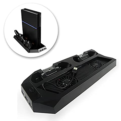 PS4 Cooler Pad for Standard PS4 Vertical Stand with Air Cooling Fan and USB HUB Port | Safe Premium ABS PS4 Stand with Dual Charging Stations for DualShock Controllers | - Port Air