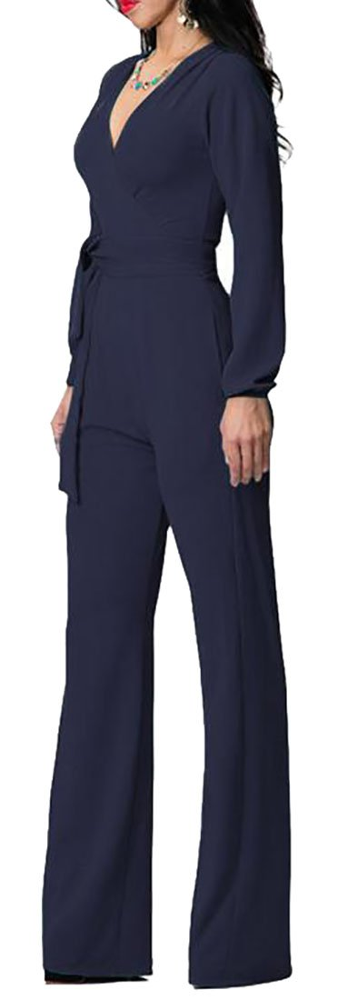 P&E Womens Comfy V Neck Long Sleeve Belt Wide Leg Jumper Pants Jewelry Blue L