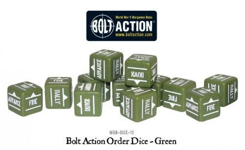 (Warlord Games Bolt Action 12 Green Bolt Action Orders Dice Pack Army War Games)
