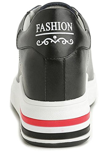 GFONE Women's Girls Leather Hidden Wedge Heels Platform Trainers height Increase Casual Shoes Black1 DDsS7pN6i
