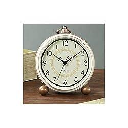 Chenjinxiang01 Alarm Clock, European Pastoral Metal Small Alarm Clock, Bedroom Desktop Silent Table Clock, Digital Bedside Vintage Clock (White) (Color : 5)