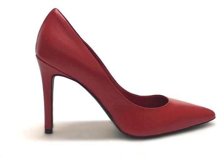 shoe gar decollete a punta rosse con tacco alto vera pelle made in italy amazon it scarpe e borse amazon it