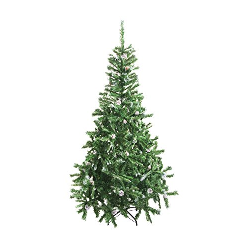 ALEKO CT59H11 Artificial Holiday Christmas Tree Snow Dusted Premium Pine with Stand and Pine Cones 5 Foot Green and White