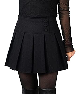 LD Womens Vintage A-line Wool Blended Pleated Mini Skater Skirts