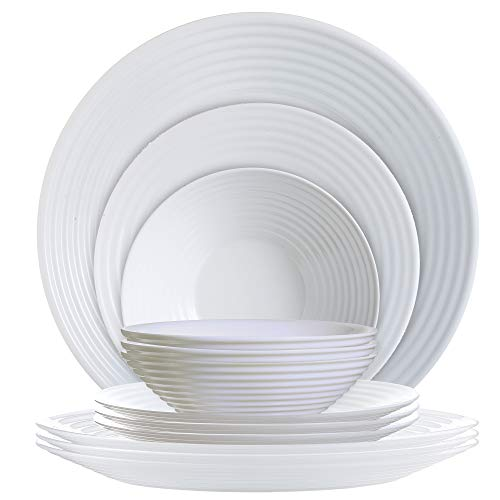 - Luminarc P0816 12 Piece Harena Dinnerware Set, 1, White