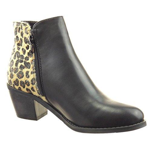 Sopily - damen Mode Schuhe Stiefeletten Reitstiefel - Kavalier Schlangenhaut Reißverschluss - Schwarz