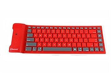 SUPRERHOUNG Computadora Teclado Inalámbrico Bluetooth Portable Impermeable Roll Up Silicio Flexible Teclado Plegable (Rojo): Amazon.es: Electrónica