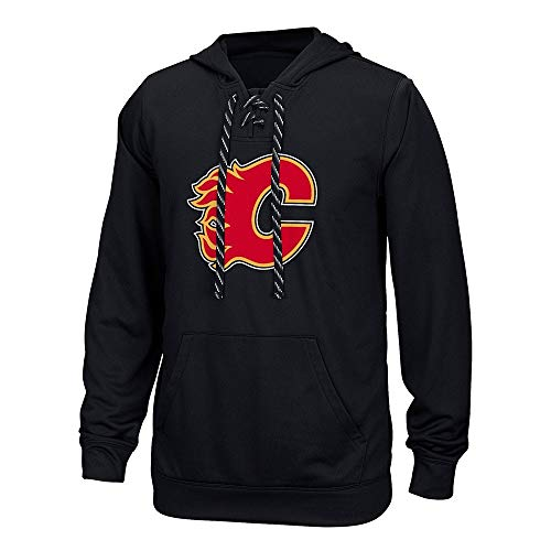 NHL Calgary Flames Adult Men Team Crest Performance Fleece Hockey Hood,3X-Large,black