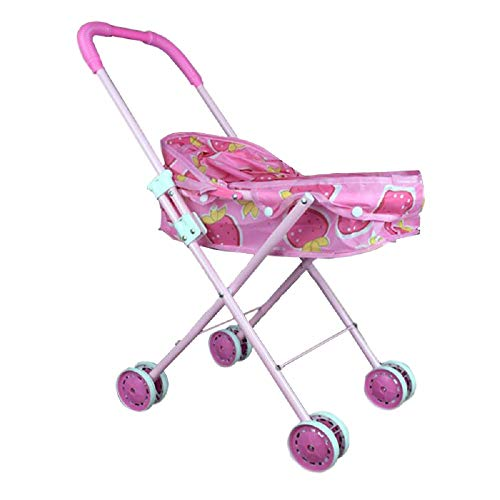 ixaer Pink & Rosa Strawberry Pattern Foldable Doll Stroller with ()