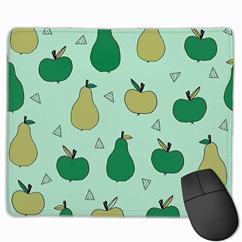 Apples and Pears Mint Cute Apples Fall Autumn Fruits Fabric Mint and Green Apple Fabric Mouse pad Mousepad Nonslip Rubber Backing 10