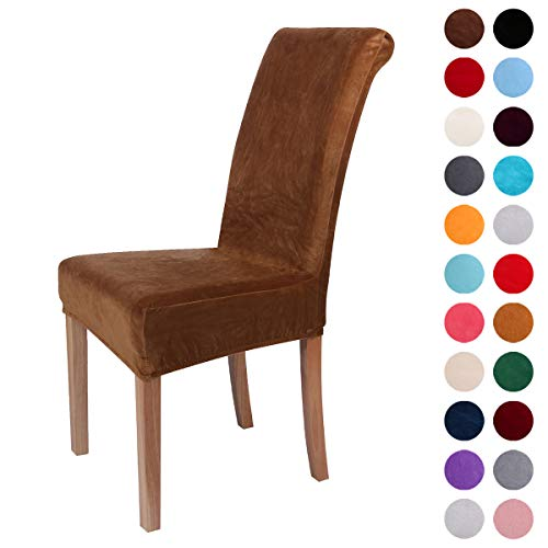 Colorxy Velvet Spandex Fabric Stretch Dining Room Chair Slipcovers Home Decor Set of 4, Camel (Dining Set Back Chair)