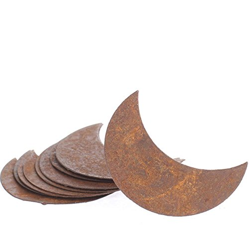 Factory Direct Craft Package of 12 Flat Rusty Tin Crescent Moon Cutouts for Displaying, Crafting and Creating