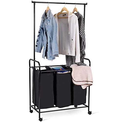 TANGKULA Garment Rack Laundry Hamper Laundry Storage/Organiz