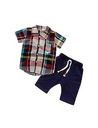 Heiner Toddler Baby Boy Gentleman Plaid Short Sleeve Shirt+Denim Shorts Sets Clothes(3 Month-4 Year