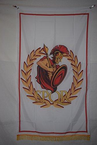 Roman Empire White Helmet Senate & People of Rome SPQR History Flag Banner Fringe 3x5 by Apedes