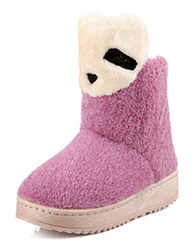Chfso Womens Cute Bear Solide Harige Volledig Bontvoering Pull Op Lage Hak Platform Enkel Hoge Warme Winter Snowboots Paars